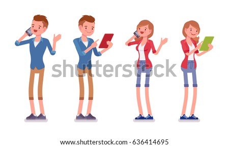 Set of male and female millennial, trendy smart casual dressing, beige chino and jeans shorts, standing using gadget, phone, tablet, vector flat style cartoon illustration, isolated, white background