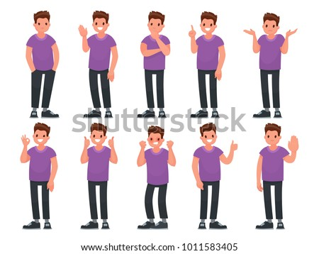 Set of male character with different gestures and emotions. Vector illustration in a flat style
