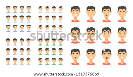Set of male emoji characters. Cartoon style emotion icons. Isolated asian boys avatars with different facial expressions. Flat illustration men emotional faces. Hand drawn vector drawing emoticon