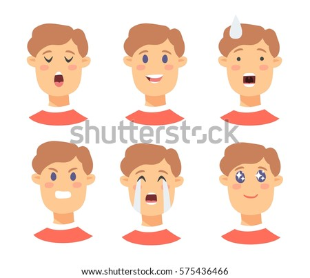 Set of male emoji characters. Cartoon style emotion icons. Isolated boy avatars with different facial expressions. Flat illustration men emotional faces. Hand drawn vector drawing emoticon