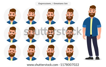 Set of male facial different expressions. Man emoji character with different emotions. Emotions and body language concept illustration in vector cartoon style.
