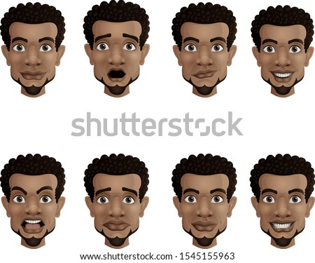 Set of male facial emotions. Black african american businessman with different face expressions
