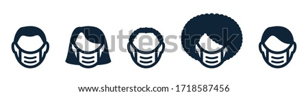 Set of male, female avatar faces, heads with protective medical mask. White, black people. Line icon. Protective mask from coronavirus, covid 19. Male, female avatar faces with surgical masks. Vector