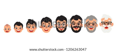 set of male heads evolution from baby till old man,, big black eyes, black hair, Asian, Arab, Latino, Caucasian, cartoon design, vector illustration (set 1/2)