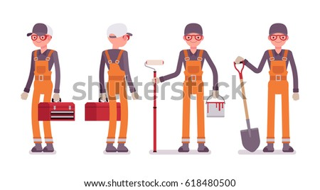 Set of male professional busy worker in standing pose, young and smiling, wearing bright orange overall, holding toolbox, paint, roller, spade, full length, isolated on white background