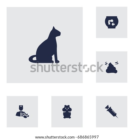 set of 6 mammal icons set