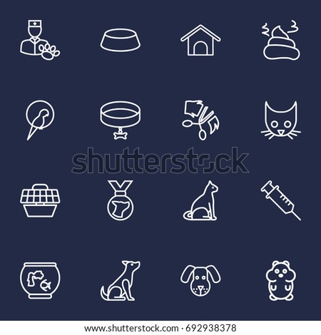 set of 16 mammal outline icons