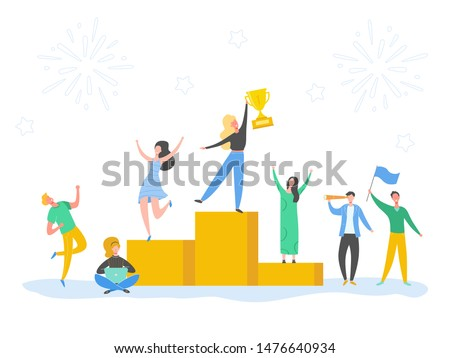 Set of Man and Woman celebrating victory, achieving reward, prize. People Success vector concept illustration. Business leader characters. Businessman and businesswoman winning trophy