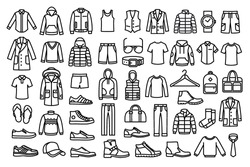 Set of man clothes icons, thin line style.