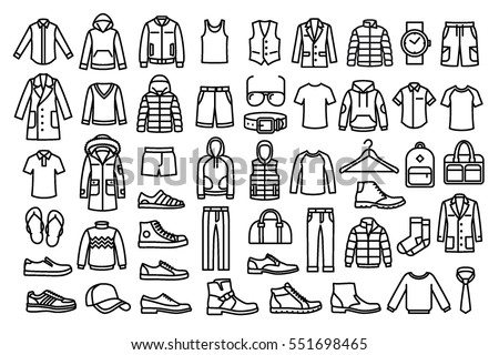 Shutterstock Set of man clothes icons, thin line style.