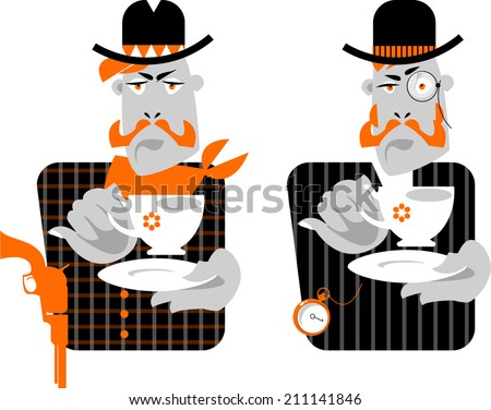 Set of man with cup of coffee. Retro style. Cowboy and gentleman. Vector illustration