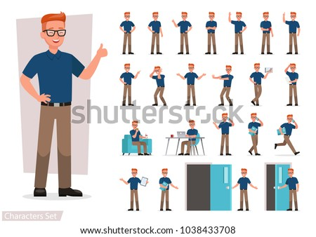 set of man working in office and presentation in various action.