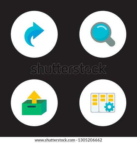 Set of management icons flat style symbols with search, redo, task manager and other icons for your web mobile app logo design.