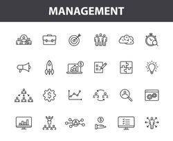 Set of 24 Management web icons in line style. Media, teamwork, business, planning, strategy, marketing. Vector illustration.