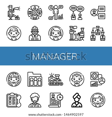 Set of manager icons such as Director, Man, Role, Foreman, Hr, Woman, Teamwork, Presentation, Team, Manage, Training, Group, Clerk, Worker, Time management, People , manager