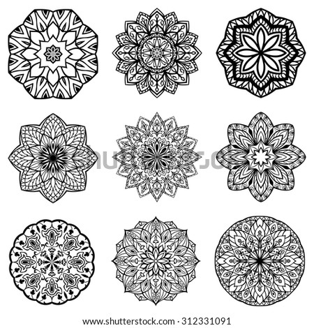 Set of mandalas Collection of stylized stars and snowflakes Vector round ethnic ornaments Template for embroidery Sketches for tattoo