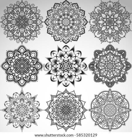 Set of mandalas for coloring book. Decorative round ornaments. Anti-stress therapy patterns. Weave design elements. Yoga logos, backgrounds for meditation poster. Unusual flower shape. Stock vector.
