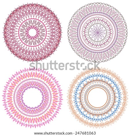 Set of 4 mandalas Ornamental round pattern