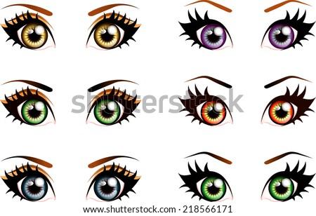 set of manga  anime style eyes