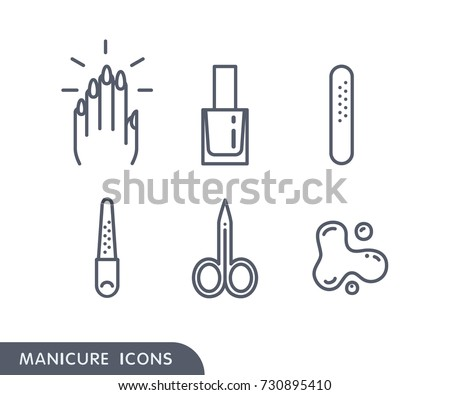 Set of manicure simple icons. Hand with painted nails, nail polish in bottle, plastic nailfile, metal nailfile, manicure scissors, blots of nail polish. Nail art