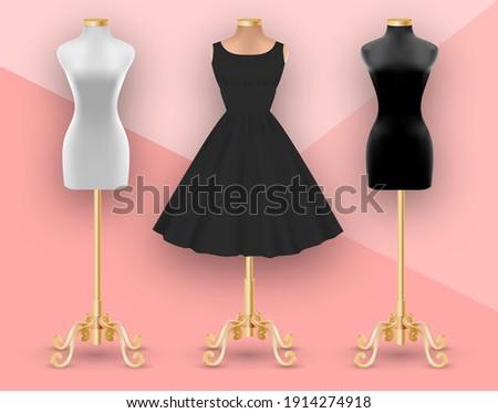 Set of mannequins. Black womens dress mockup on beige mannequin. Clothes realistic 3d mock up. Vector illustration Photo stock ©
