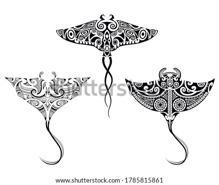 Set of Manta ray  in Maori style. Tattoo sketch tribal ethno style.  Collection of tattoo for divers. Foto stock ©