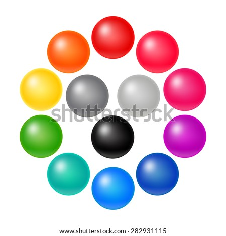 set of many colorful balloons