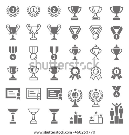 Set of many detailed vector award and trophy icons, including, lots of cups, medals, certificates, podiums and more