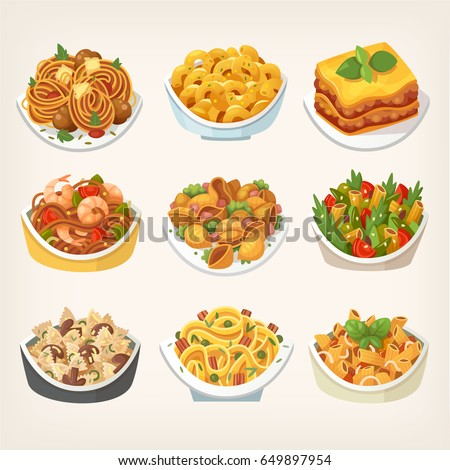 Set of many kinds of tasty colorful pasta dishes cooked with different sauces. Variety of pasta meals. Isolated vector illustrations.