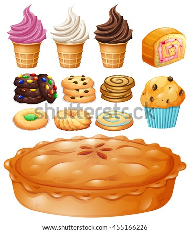 Set of many types of desserts illustration