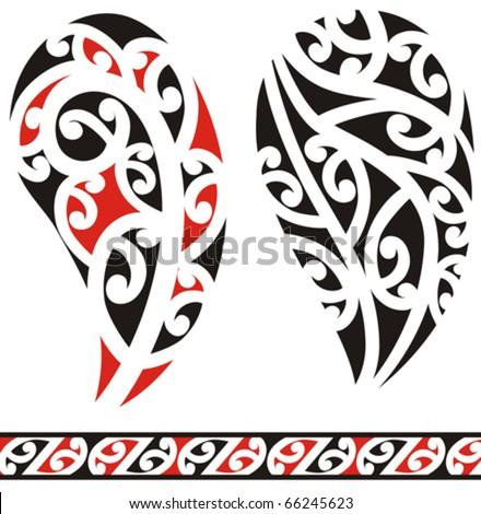 stock vector : Set of maori tribal tattoo