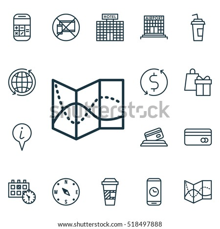 Set Of Map and Journey Icons On Credit Card, Road Map And Info Pointer Topics. Editable Vector Illustration. Includes Road, Around, Date And More Traveling Journey Icons Vector.