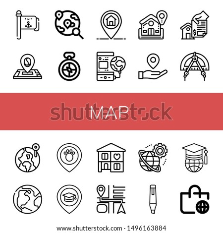 Set of map icons such as Flag pole, Location, World, Compass, Marker, Home, Placeholder, Earth, Place, Navigation, Worldwide, Worldwide shipping , map