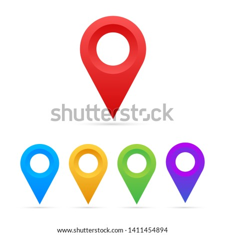 Set of map pointers on white background. Vactor stock illustration.