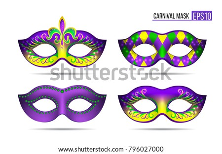 Set of Mardi gras masks isolated on white background. Vector illustration