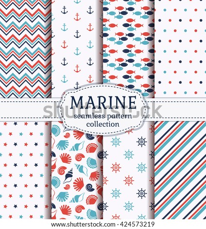 set of marine and nautical