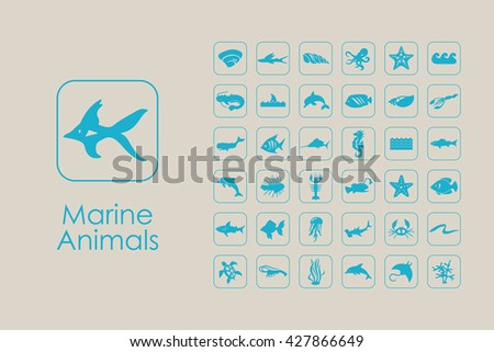 set of marine animals simple