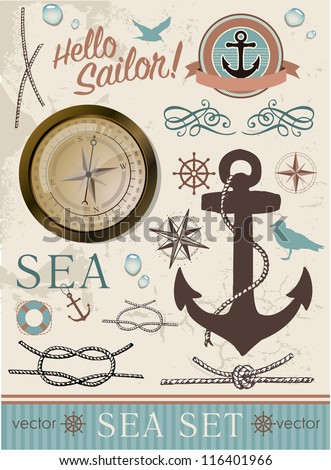 Set of marine elements with anchor and compass