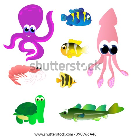Set of marine life  vector illustrated  isolated  baby style