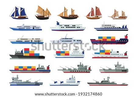 set of maritime ship