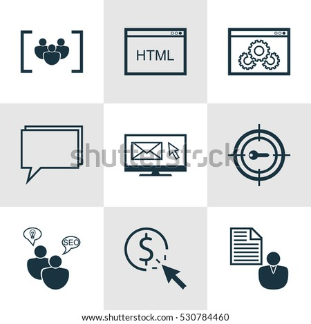 set of 9 marketing icons can