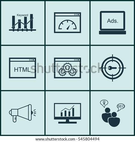 set of 9 marketing icons