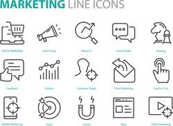 set of marketing icons, seo, analytics, ads, business