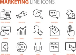 set of marketing icons, seo, analytics, ads, business