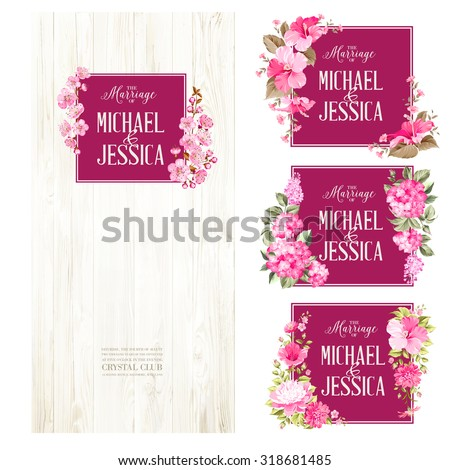 set of marriage invitations