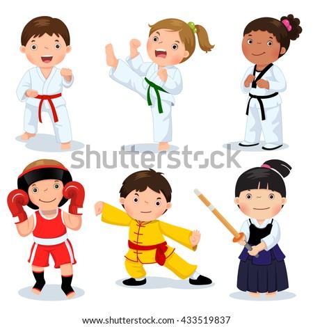 set of martial arts kids