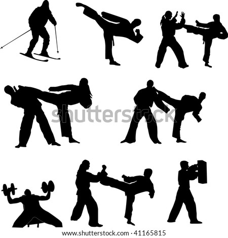 Set of martial arts people silhouette