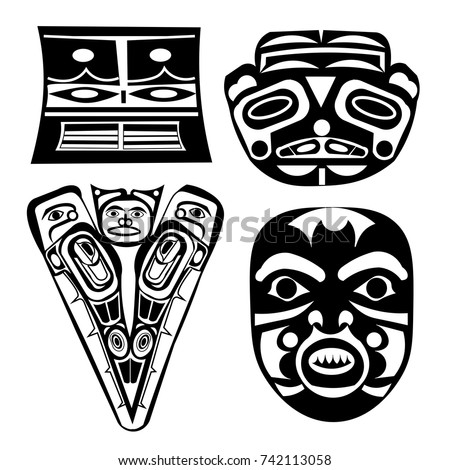 set of masks ethnic themes for tattoo ethnic patterns of native