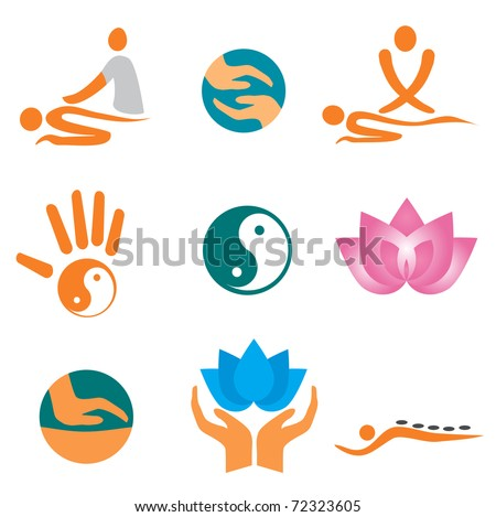Set of massage , wellness and spa icons. Vector illustration