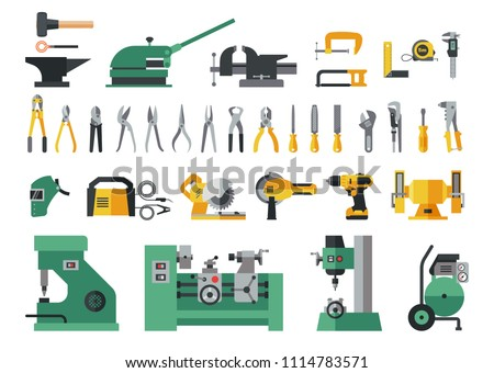 Set of master tools for metal. Big flat icon collection of hand tools and power electric machines for metal work factory process.
